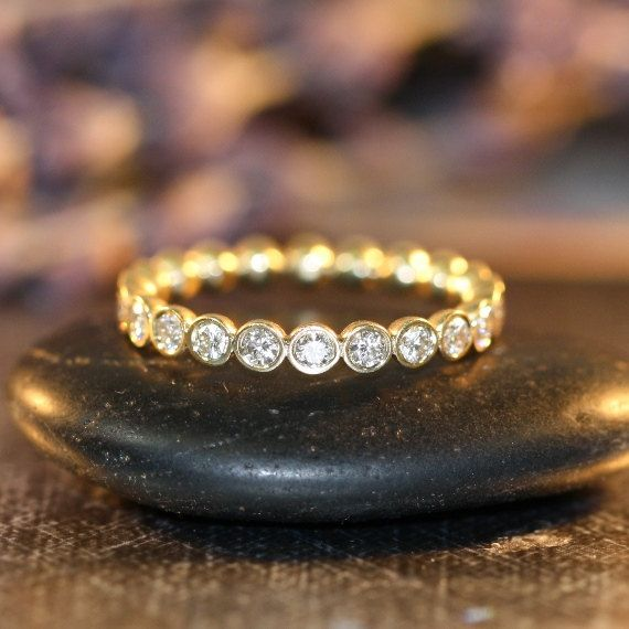 Bezel Set Diamond Eternity Band in 14k Yellow Gold Satin Matte Gold Ring Women Diamond Anniversary Ring (Custom Ring ok)