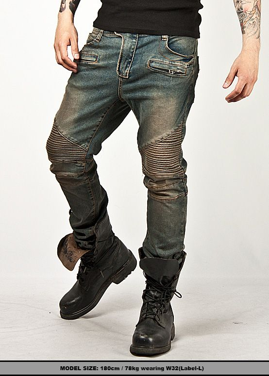 Bottoms :: Jeans :: Washed Tough-Chic Blue Designer Skinny Biker Jean - 40 - New and Stylish - Fast Mens Fashion - Mens Clothing - Product