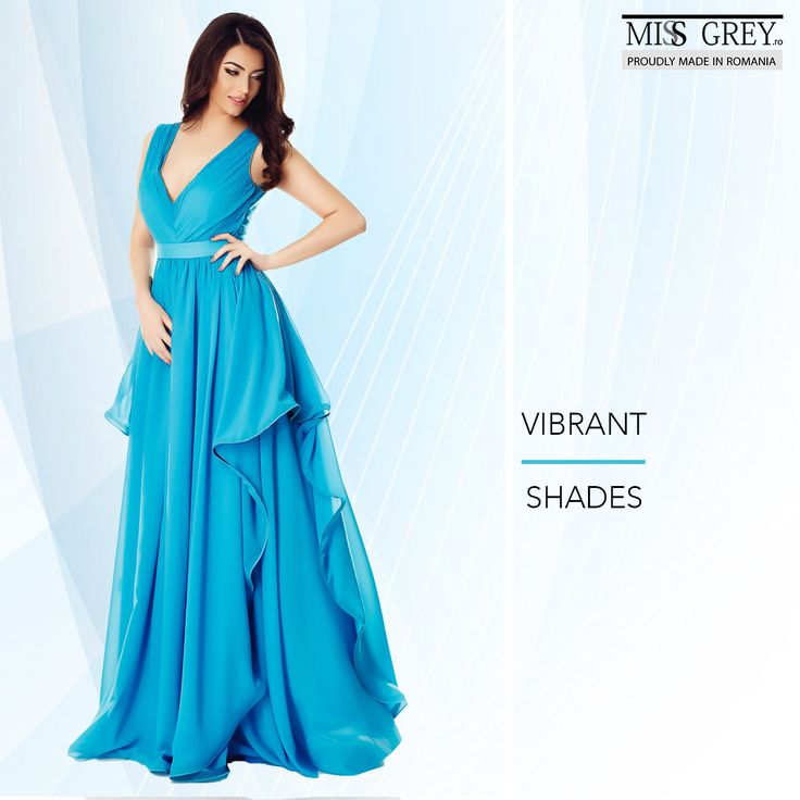 Feel like a Greek goddess wearing this elegant evening dress made from delicate veil in precious turquoise shades