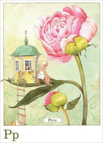 Majas Alfabet P - Pion - Swedish postcard by Lena Anderson by niblog, via Flickr
