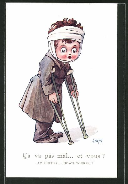Künstler-AK A. Wuyts: Junge als verwundeter Soldat auf Krücken, Kinder…