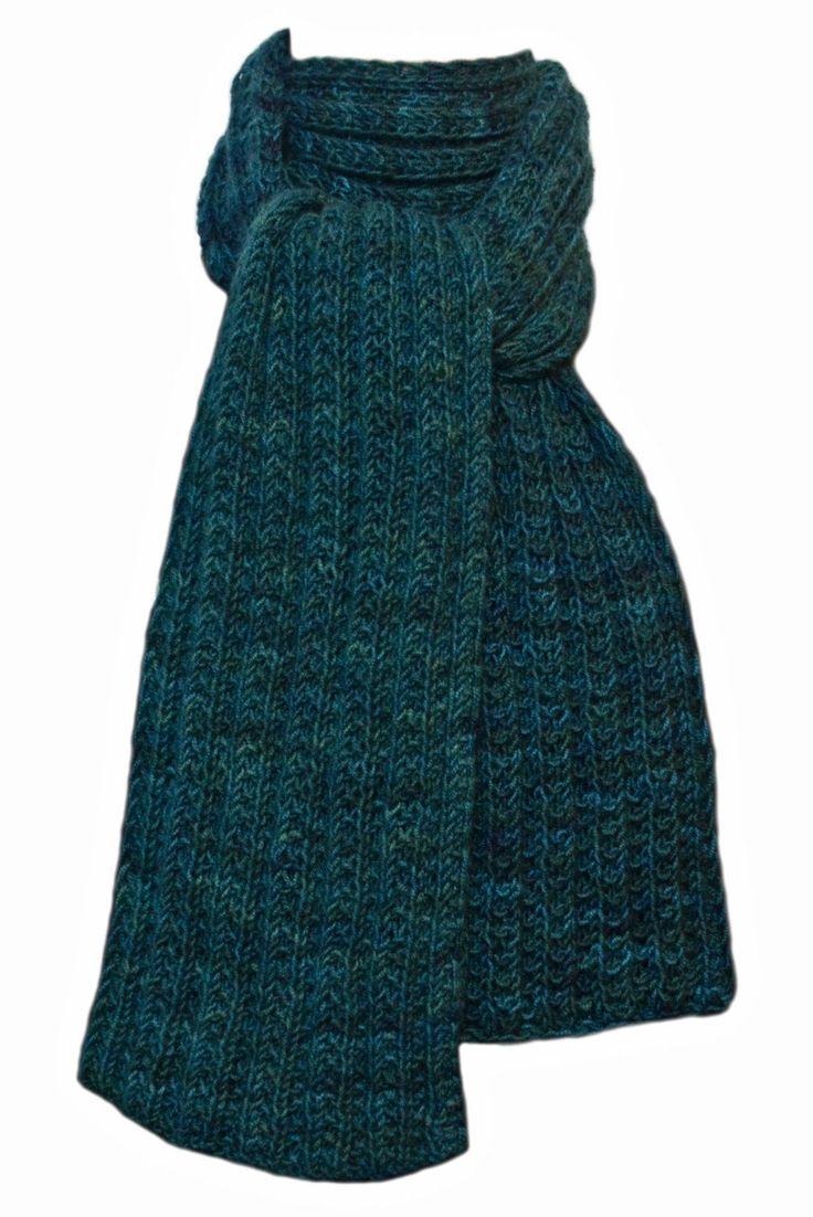 Hand Knit Scarf - Tournaline Green Keji Cashmere Trail Rib by StudioatRedTopRanch on Etsy