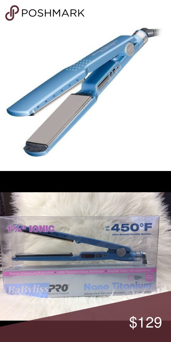 Blue BaByliss Professional Titanium Straightener Newe. Never used. 1 3/4 BaByliss professional straightener. Other