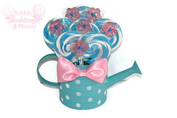 Pink and Blue Watering Can Lollipop Arrangement by EdibleWeddings, $24.99