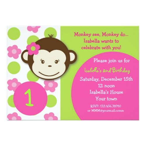 120 best monkey birthday party images on pinterest birthday mod monkey girl birthday party invitations stopboris Image collections