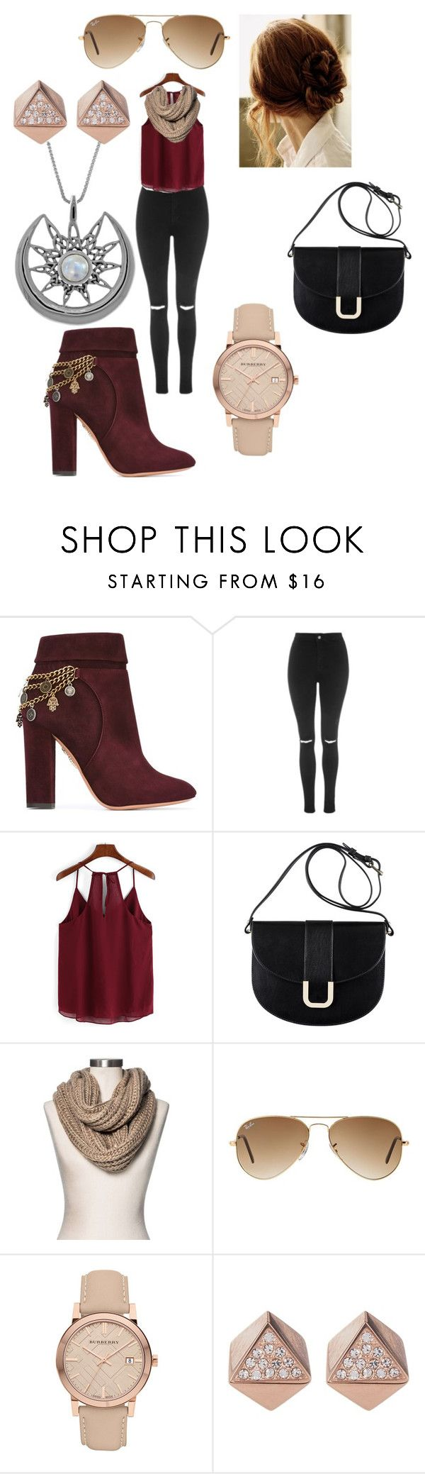 """""""Guardian"""" by jellyfishnamedsquid on Polyvore featuring Aquazzura, Topshop, A.P.C., Merona, Ray-Ban, Burberry, FOSSIL and Carolina Glamour Collection"""
