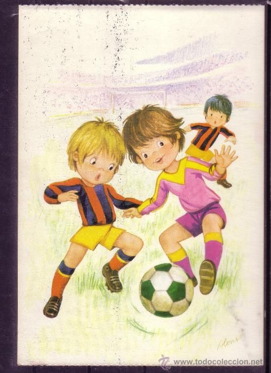 Dibujo De Dos Ninos Jugando Futbol Imagui Postales De Siempre