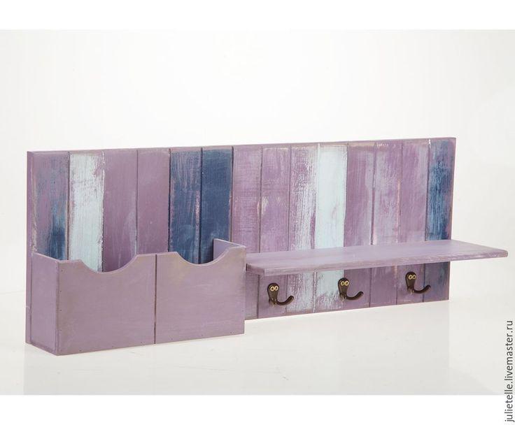 Купить Полочка с карманом - темно-фиолетовый, полочка, полка для ванной, хранение, ванная комната, Декор