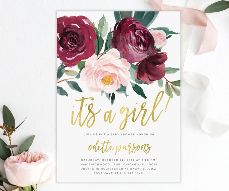 The Odette It's a Girl Baby Shower invitation features gorgeous fall florals with a burgundy and blush pink rose and greenery arrangement and gold brush calligraphy lettering. Add the baby's name to the back, a full sized photo or your own text.
