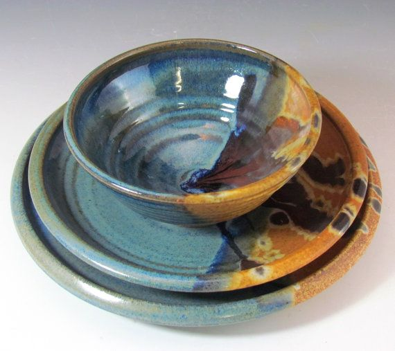 Stoneware Blue and Brown Dinnerware Set handmade for by claycoyote : unique tableware sets - pezcame.com