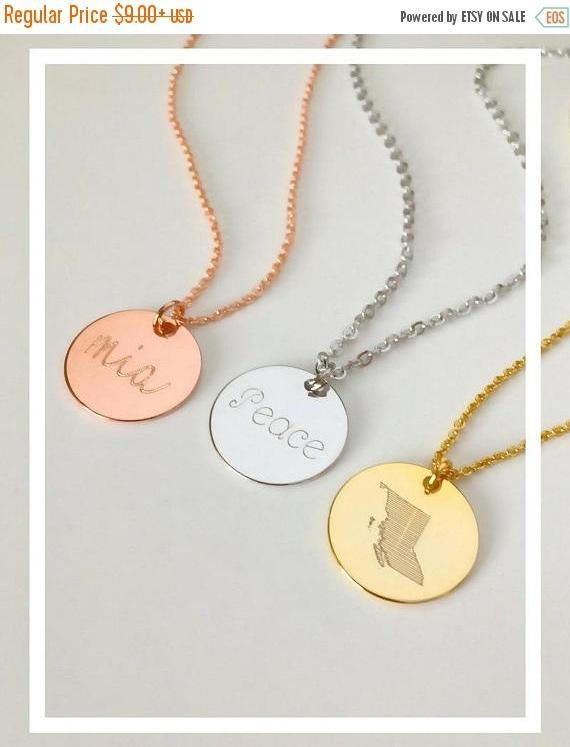 Personalized necklace, Kids initial necklace, state province coin necklace, Roman numerals necklace, gold coin necklace, disk necklace Add a feminine touch to any look and outfit with our gorgeous personalized coin necklace. They are perfect for giving as a gift, or to treat yourself, because you deserve it! Customized jewelry allows you to wear a memory that is sentimental and one of a kind to you. These exquisite pieces can be engraved on both sides, giving you 2 necklaces in 1. They are…