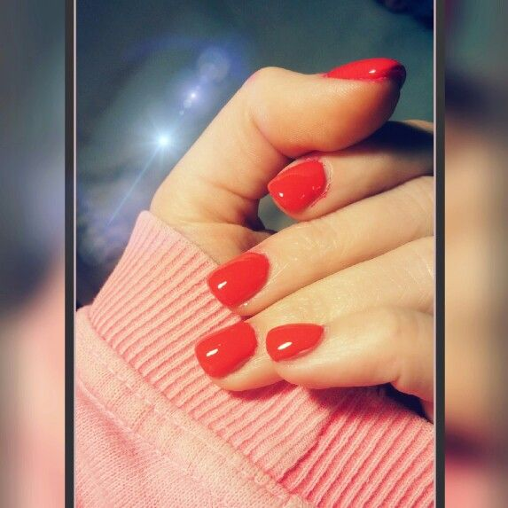 My red nails (plus acrylic overlay on natural nails) | Nails ...