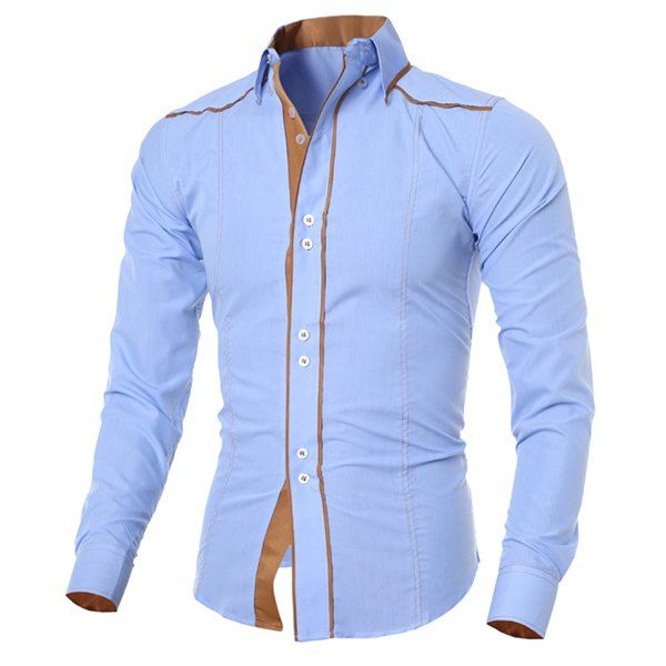 $11.50 Stylish Shirt Collar Slimming Color Block Sutures Design Long Sleeve Polyester Shirt For Men