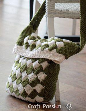Entrelac Messenger Bag | Knit