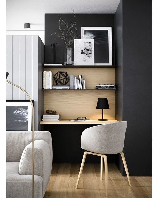 via @homeadore: Home Office #homeoffice #livingroom #interior #interiors #interiordesign #design #architecture