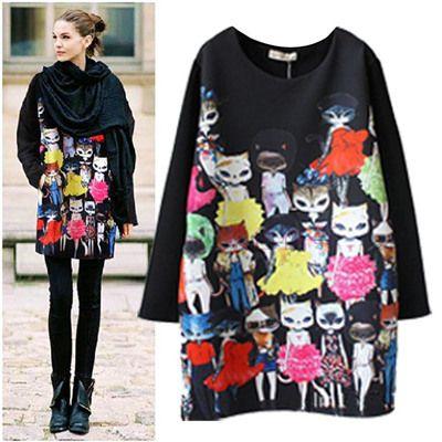 Mode 2015 printemps , plus la taille vêtements chat ruslana korshunova lâche occasionnels robe à manches longues dans Robes de Accessoires et vêtements pour femmes sur AliExpress.com | Alibaba Group