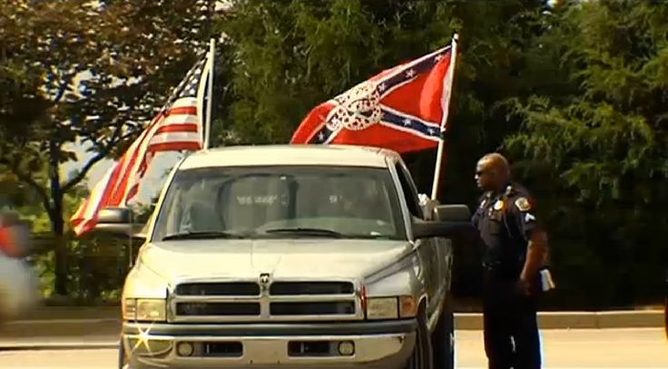 South Carolina Confederate Flag Supporters Shuffled From Wal-Mart to Wal-Mart Following Police Orders