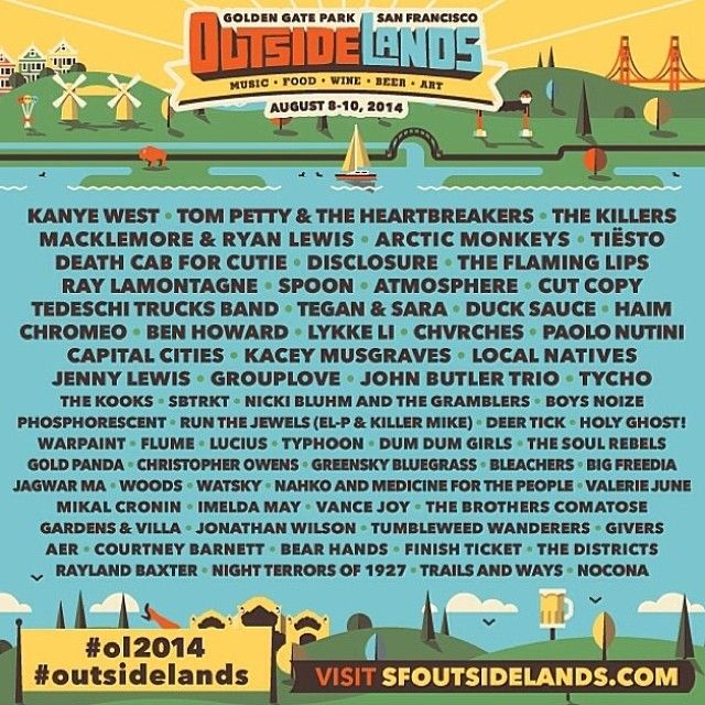 Here's the #OutsideLands 2014 lineup! It's awesome. Go to FOD today & Huey Lewis…