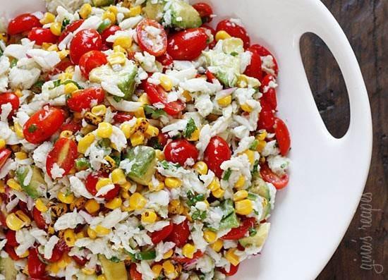 Summer tomato, crab, and avocado dip/salad
