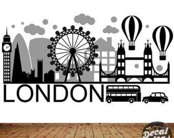 London Wall Decal - London City Wall Sticker - London Wall Art - City Skyline - London City Wall Decal - London Skyline Wall DecalETS50064