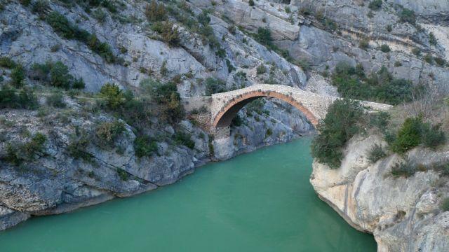 Old Bridge of Terradets and La Noguera Pallaresa (Lleida, Catalonia)