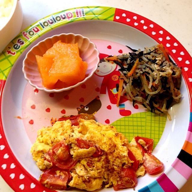 #娘の離乳食の記録 *ご飯*ミニトマトのオムレツ*ひじきの煮物*メロン - 10件のもぐもぐ - 幼児食29d晩ご飯 by attyann