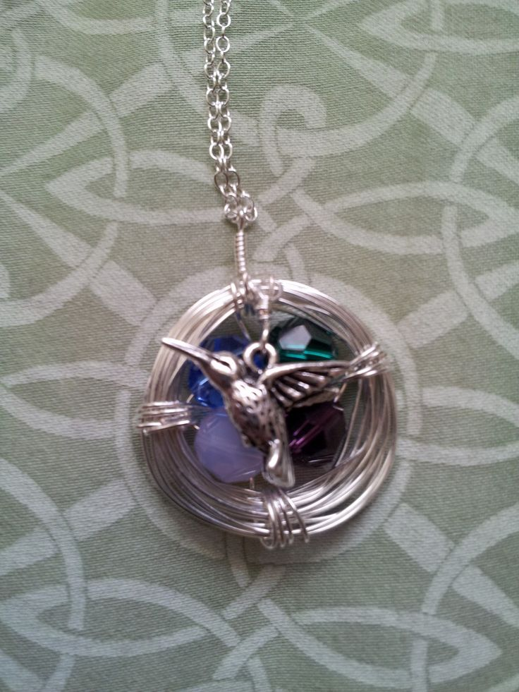 I just made this for mother's day tomorrow.  It is a birds nest with 4 stones representing the birthstones of me and my three brothers: sapphire, emerald, amethyst and opal.  I made it based on this tutorial plus some wire wrapping that I learned today in a jewelry making class: http://www.sarahortega.com/2011/05/diy-bird-nest-necklace.html.  I love how it turned out!  So excited to give it to her. :D