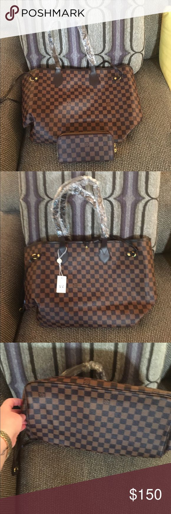 Louis Vuitton large checkered bag . Brand new Brand new , handles are still wrapped . Comes with wallet . Just too big for my liking Louis Vuitton Bags Shoulder Bags