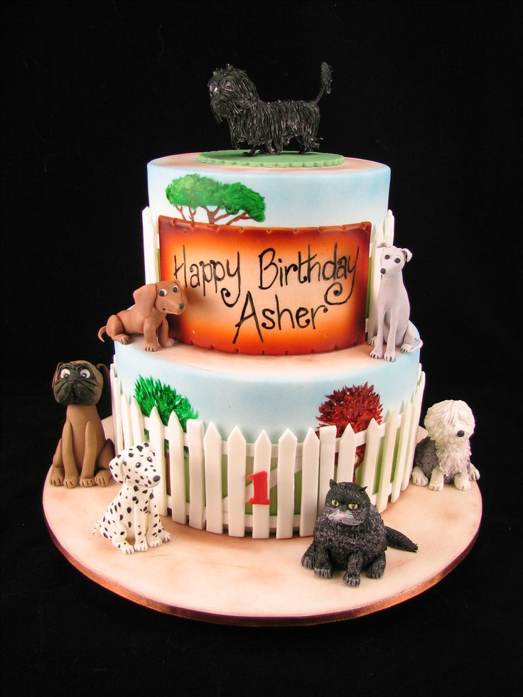 All the characters from the classic Hairy Maclary book hand made from fondant on a chocolate cake with painted garden and a fondant picket fence.