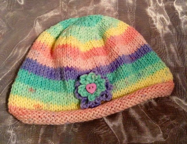 Little stripy knitted baby hat £4.00