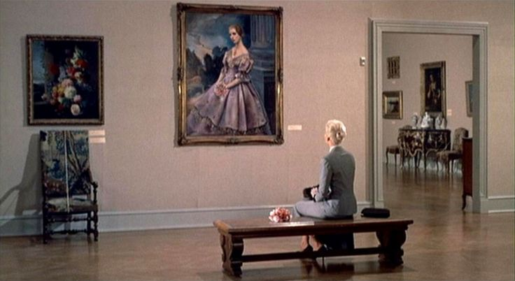 "Iconic museum scene (including two brilliant match cuts) from ""Vertigo"" (dir. Alfred Hitchcock, 1958)."