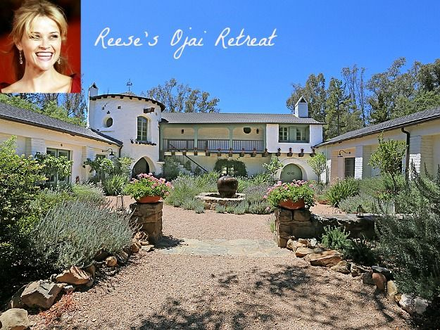 This Spanish style ranch is owned by Reese Witherspoon. Libbey Ranch in Ojai, California is currently on the market.