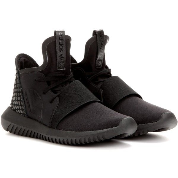 Adidas Tubular Defiant Sneakers ($135) ❤ liked on Polyvore featuring shoes, sneakers, adidas shoes, black trainers, adidas, black sneakers and adidas trainers