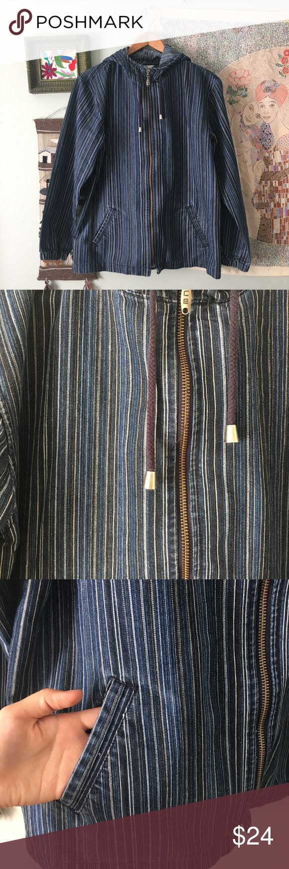 Vintage Striped Denim Zip Up Jacket Very super cool striped denim jacket. Zips up with a hood. Great condition although there was one button on each side that has been removed (pictured) Size M Vintage Jackets & Coats Jean Jackets