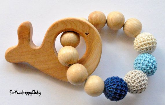Teething toy / Juniper whale / Wooden  beeds by ForYourHappyBaby