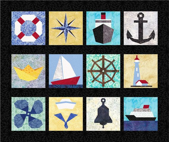 This is a set of 12 quilt pattern designs for foundation paper piecing. Each block is features an unique nautical image; sail boat, ship, anchor,