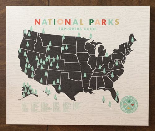 National parks map: custom made to put a tree on the parks you've visited. Fun!