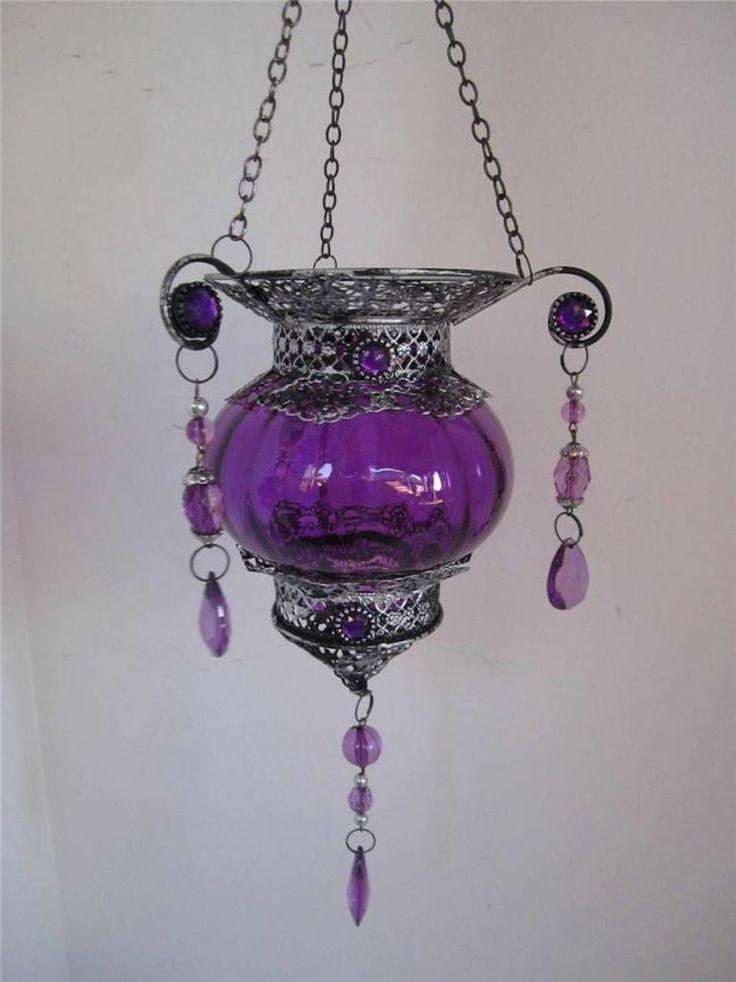 Medieval Vintage Purple Glass Hanging Candle Lantern Metal