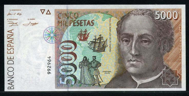 Spain currency 5000 Pesetas banknote of 1992, Christopher Columbus. - Obverse: Bust of Christopher Columbus and a map of America with two ships of the Columbus period and the figures of the King Ferdinand and Queen Isabella. As shown in matching front and back displays a compass rose as watermark head of Martin Alonso Pinzon and the symbol of the V Centenary of the Discovery. Printed by Fábrica Nacional de Moneda y Timbre, Madrid.