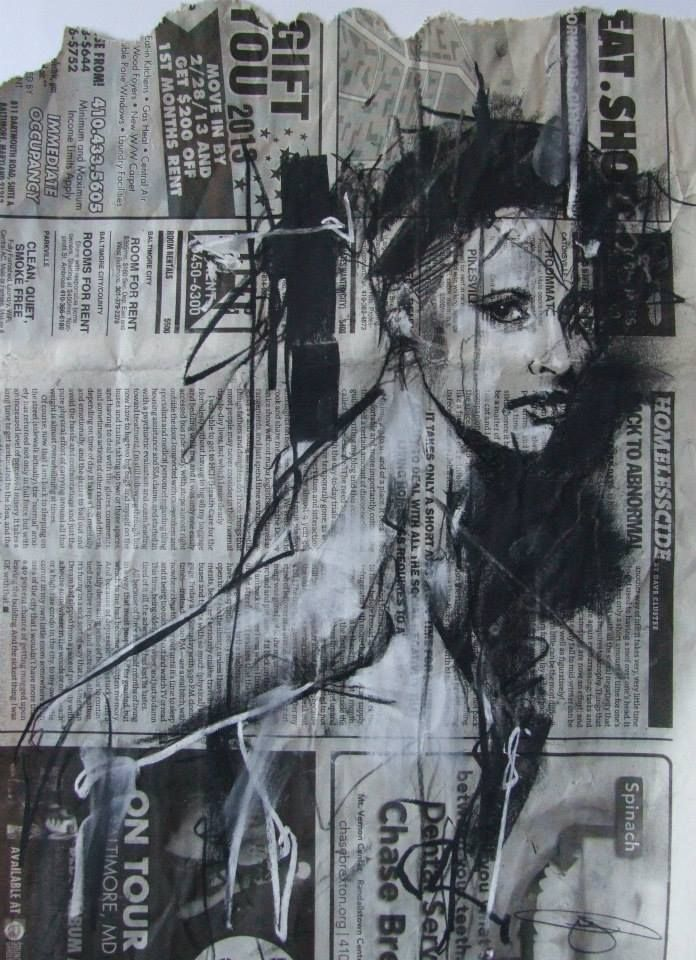 "by Artist Guy Denning  -  ""stolen portrait (NY)"" conte and chalk on newsprint 26 x 33 cm 27th August 2013"