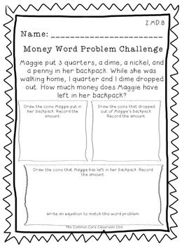 CCSS.Math.Content.2.MD.C.8 Solve word problems involving dollar bills, quarters, dimes, nickels, and pennies, using $ and  symbols appropriately. Example: If you have 2 dimes and 3 pennies, how many cents do you have?This word problem challenge provides students with a guide to interpreting and solving word problems.