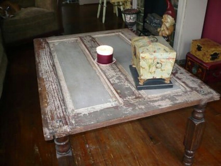 turn an old door into a coffee table repurpose reuse