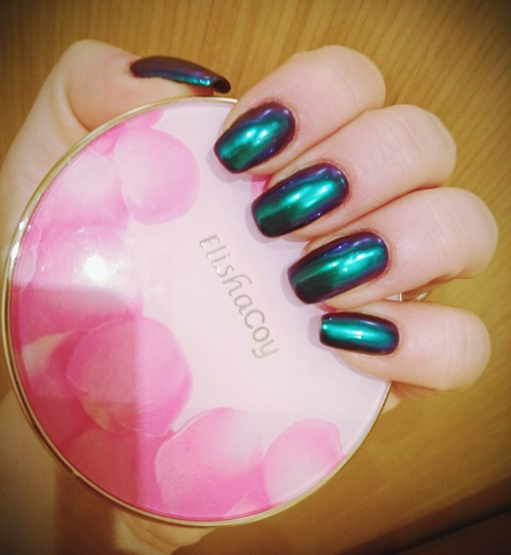 Long nails, green-blue-purple nails, cushion, neonail