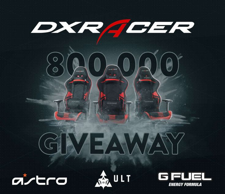 DXRacer's 800,000 Follower Giveaway: I just entered @DXRacer's 800K follower #Giveaway to win a free chair and prizes from @ASTROGaming, @UltEsports and @GFuelEnergy! Enter at