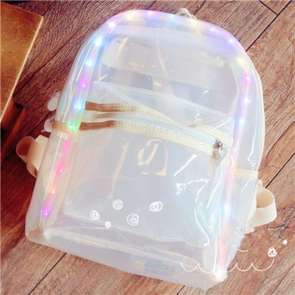 "Kawaii students LED lighting transparent backpack Use coupon code ""cutekawaii"" for 10% off"