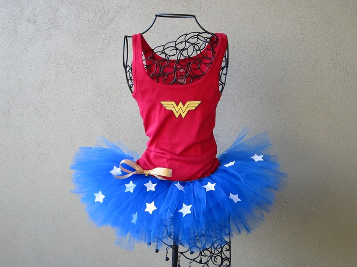 Running Tutu: Wonder Woman Custom Racing Tank and Pixie Length (9 inch) Tutu. $59.95, via Etsy.//Superhero Scramble!
