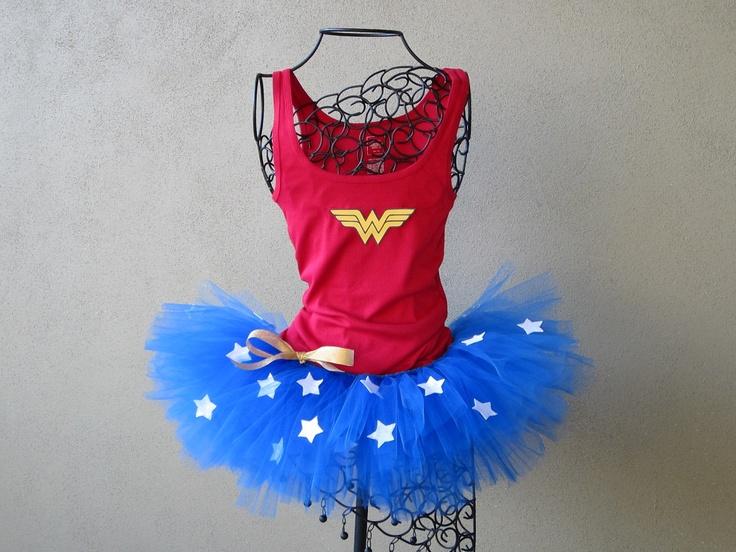 Running Tutu: Wonder Woman Custom Racing Tank and Pixie Length (9 inch) Tutu. $59.95, via Etsy.//Superhero Scramble!