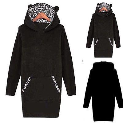 Korean-Leopard-Animal-Ladies-Teddy-Bear-Ears-Womens-Long-Hoodies-Outwear-Sweats