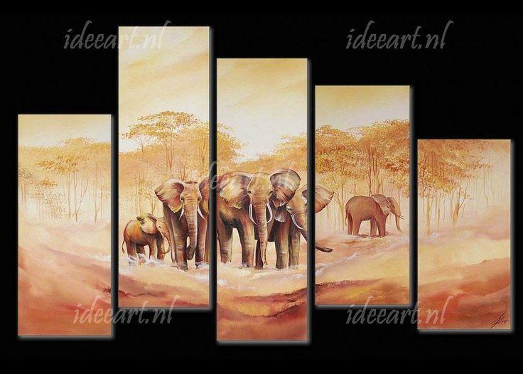 Schilderij Familie Olifant | Schilderijen afrikaanse olifant