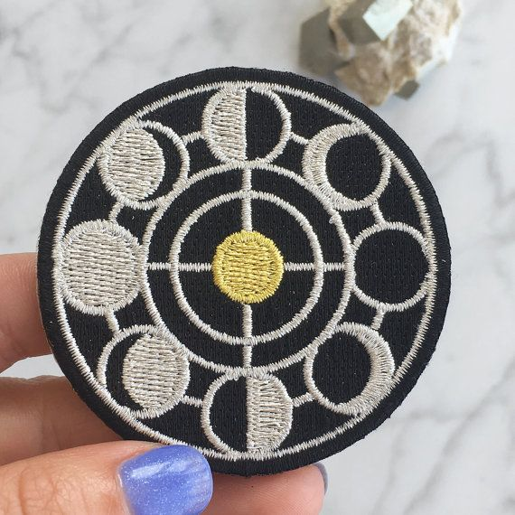 Moon Phase Patch - Iron On - Embroidered Applique - Black - Gold - Silver